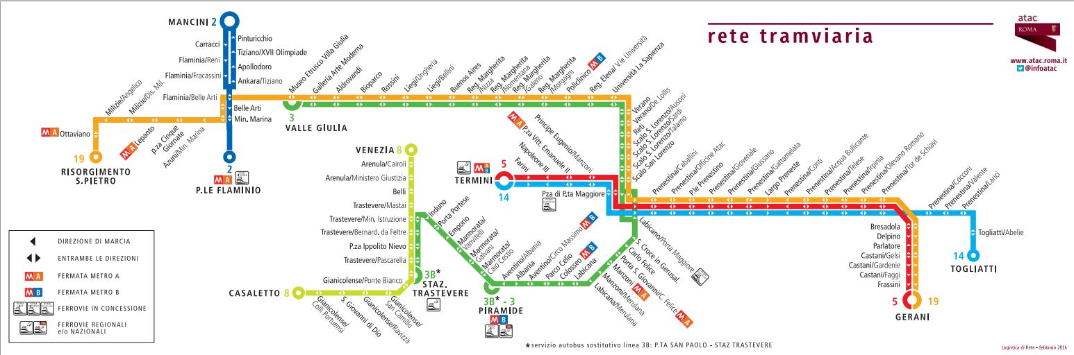 mappa linee tram roma