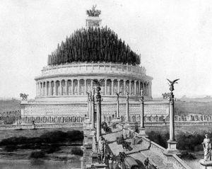 Una ricostruzione del Mausoleo di Adriano