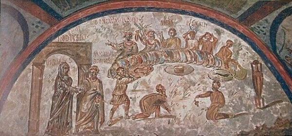 Un affresco all'interno delle Catacombe di Domitilla