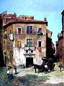 Dipinto della Locanda prima che la costruzione dei Muraglioni cambiasse l'aspetto della zona.