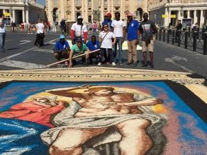 Infiorata Roma 2016 - gruppo volontari quadro Truciolinarte Torricella Sicura